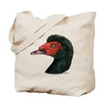 Muscovy Duck Head Black Tote Bag