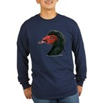 Muscovy Duck Head Black Long Sleeve Dark T-Shirt