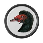Muscovy Duck Head Black Large Wall Clock