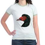 Muscovy Duck Head Black Jr. Ringer T-Shirt