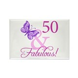 50 & Fabulous (Plumb) Rectangle Magnet (10 pack)