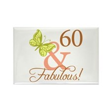60 & Fabulous (Autumn) Rectangle Magnet (100 pack)