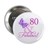 "80 & Fabulous (Plumb) 2.25"" Button"