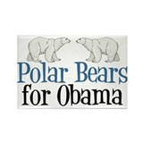 Polar Bears for Obama Rectangle Magnet
