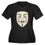Guy Fawkes Women's Plus Size V-Neck Dark T-Shirt