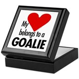 Heart belongs, goalie Keepsake Box