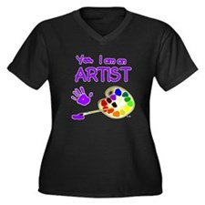 Yes I Am an Artist Women's Plus Size V-Neck Dark T