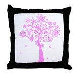 Winter Snowflake Tree Throw Pillow