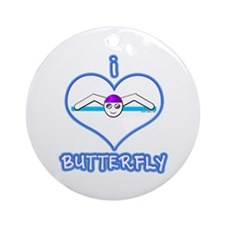 I Love Butterfly! Ornament (Round)