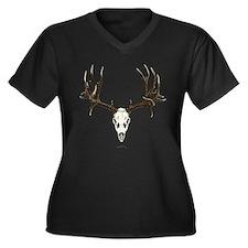 Deer skull Women's Plus Size V-Neck Dark T-Shirt