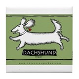 Dancing Dachshund - Longhair Tile Coaster