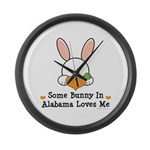 Some Bunny In Alabama Loves Me Large Wall Clock