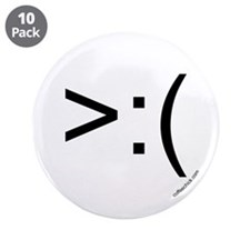 ">:( emoticon 3.5"" Button (10 pack)"