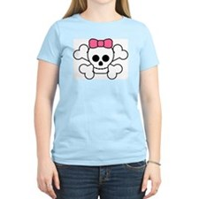 Cute Girl Skull Women's Pink T-Shirt