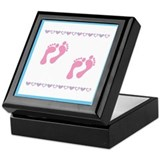 Twin Footprints - Pink Keepsake Box