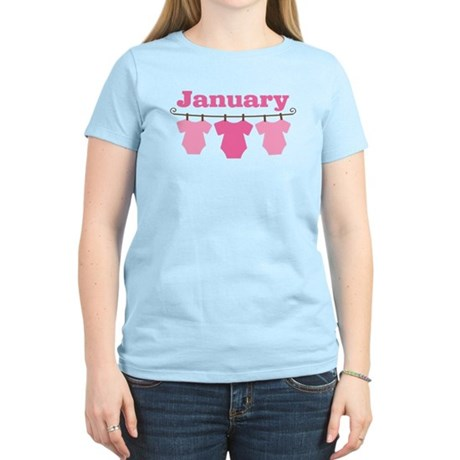 Pink January Baby Announcement Light Tee