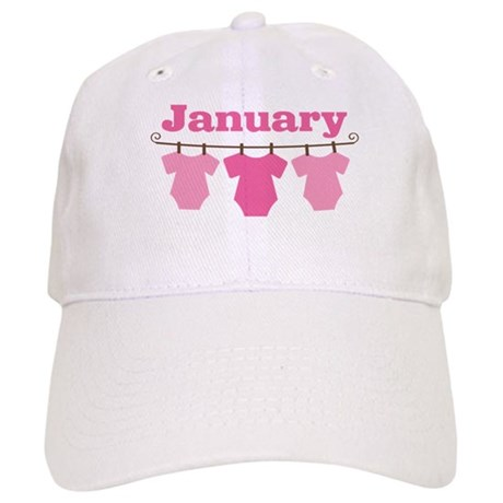 Pink January Baby Announcement Cap