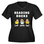 Reading Rocks Women's Plus Size V-Neck Dark T-Shir