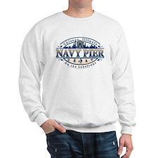 Navy Pier Oval Stylized Skyline design Sweatshirt