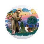 St. Francis #2 / Sheltie (sw) Ornament (Round)