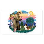 St. Francis #2 / Sheltie (sw) Sticker (Rectangle)
