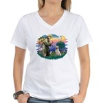 St. Francis #2 / Yellow Lab Women's V-Neck T-Shirt