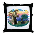 St.Francis #2 / Black Lab Throw Pillow