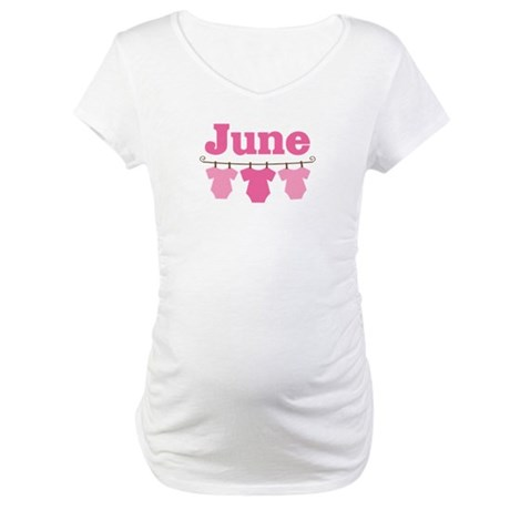 Pink June Baby Announcement Maternity T-Shirt