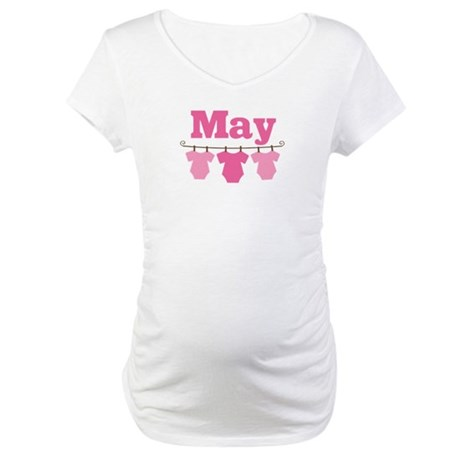 Pink May Baby Announcement Maternity T-Shirt