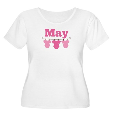 Pink May Baby Announcement Women's Plus Size Scoop