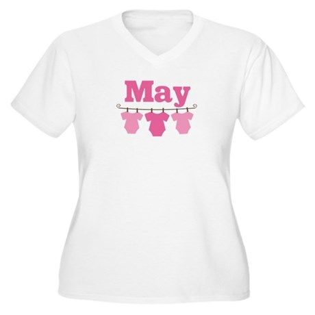 Pink May Baby Announcement Women's Plus Size V-Nec