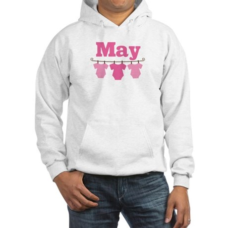Pink May Baby Announcement Hooded Sweatshirt