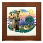 St.Francis #2 / Pekingese #1 Framed Tile