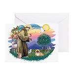 St.Francis #2 / Pekingese #1 Greeting Cards (Pk of