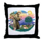 St.Francis #2 / Pekingese #1 Throw Pillow