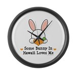 Some Bunny In Hawaii Loves Me Large Wall Clock