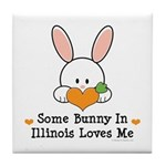 Some Bunny In Illinois Loves Me Tile Coaster