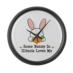 Some Bunny In Illinois Loves Me Large Wall Clock