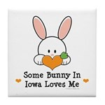 Some Bunny In Iowa Loves Me Tile Coaster