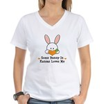 Some Bunny In Kansas Loves Me Women's V-Neck T-Shi