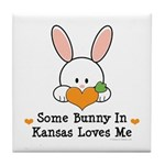 Some Bunny In Kansas Loves Me Tile Coaster
