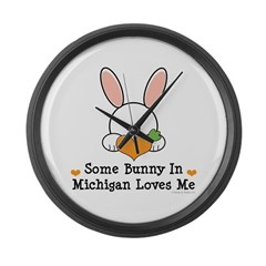 Some Bunny In Michigan Loves Me Large Wall Clock
