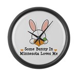 Some Bunny In Minnesota Loves Me Large Wall Clock
