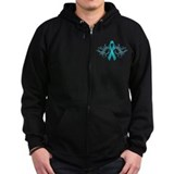 Teal Ribbon Zip Hoody