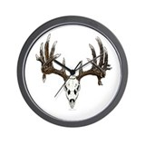 whitetail skull Wall Clock