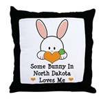 Some Bunny In North Dakota Throw Pillow