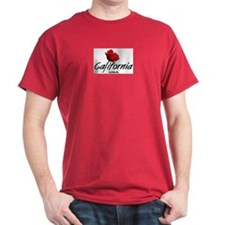 California Red Poppy Black T-Shirt