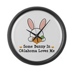 Some Bunny In Oklahoma Loves Me Large Wall Clock
