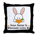 Some Bunny In Wisconsin Throw Pillow