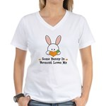 Some Bunny In Vermont Loves Me Women's V-Neck T-Sh